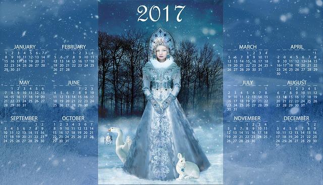 roční kalendář s obrázkem