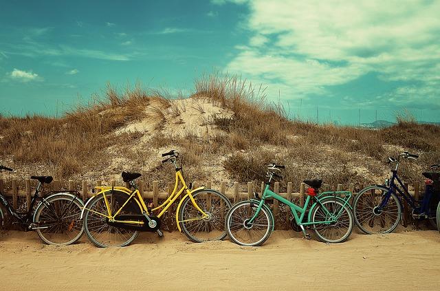 pláž, travnatý kopec, kola