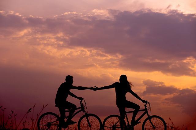 dvojice, kola, západ slunce