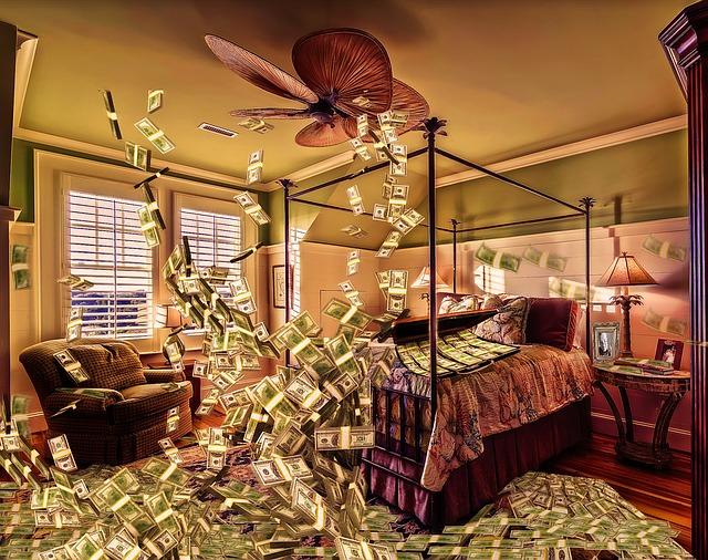 místnost plná peněz