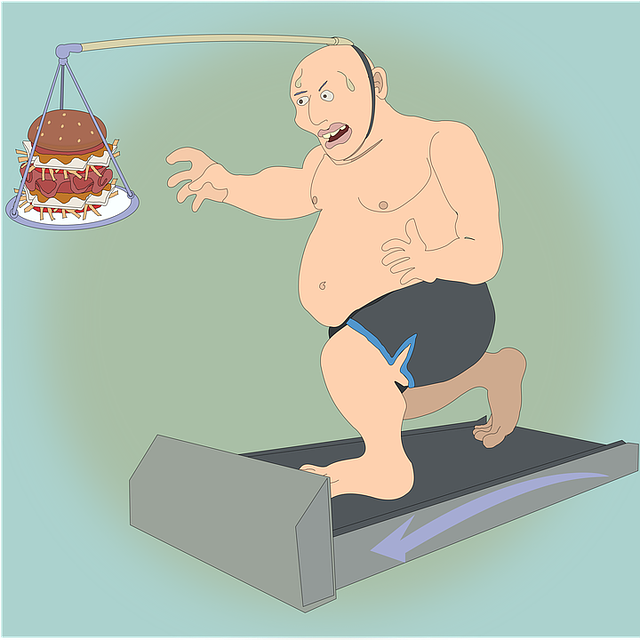kreslený obrázek tlustého muže, jak se honí za jídlem.png
