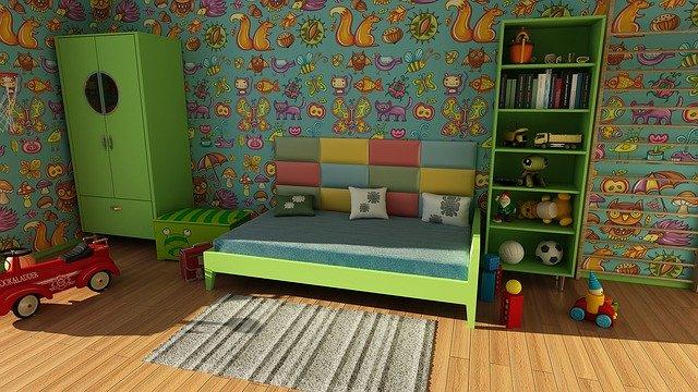 dětský pokoj laděný do zelena